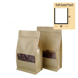 Quiware Stand Up Zip Lock Kraft Gusset Pouch
