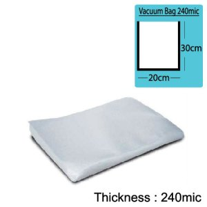 20cm(W) x 30cm(L) Both Sides Clear Vacuum Bag 240mic x100pcs