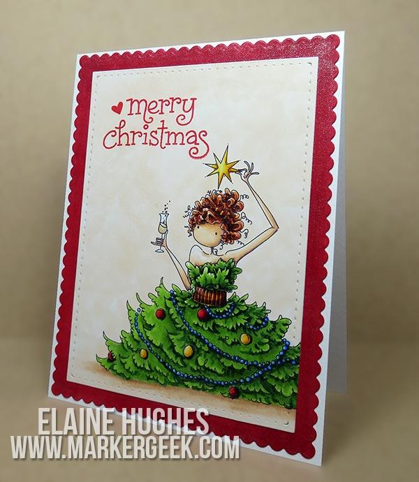 Stamping Bella Uptown Girl Christmas Card Marker Geek