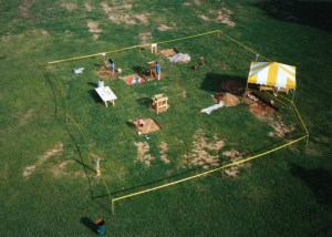 Aerial view of archaeological dig.