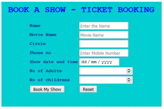Quiz for Exam -  Book A Show - Online Ticket Booking