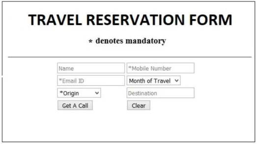 Quiz for Exam - TRAVEL RESERVATION FORM