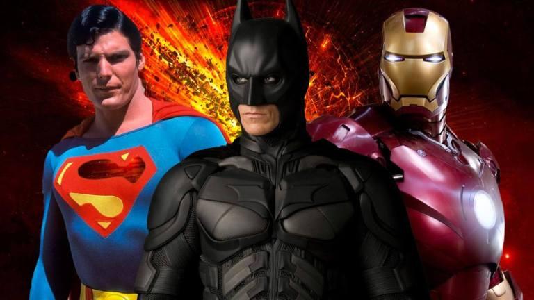 super man, homem de ferro e batman, herois de filmes