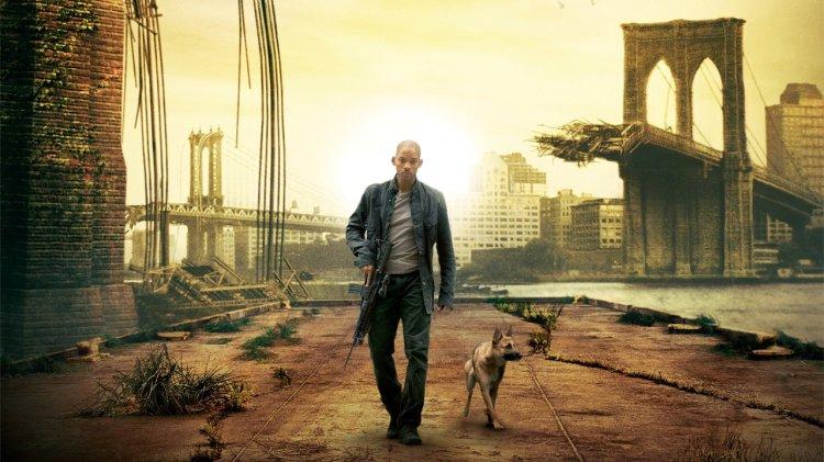 capa do filme eu sou a lenda com will smith e o cachorro
