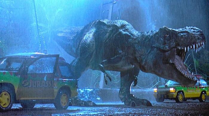 Dinossauro em uma das cenas do filme Jurassic Park