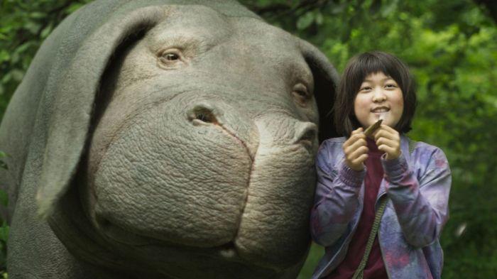 Okja - o animal do filme e a menina na foto