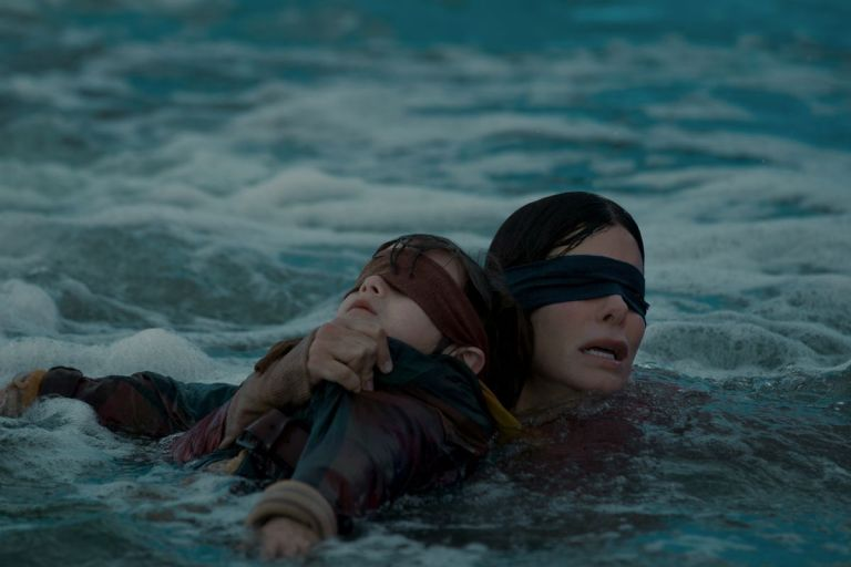 cena do filme Bird Box com Sandra Bullock