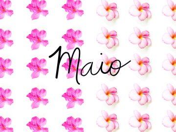 foto escrito maio com flores no fundo
