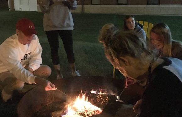 QU Students Gather Around Bonfire