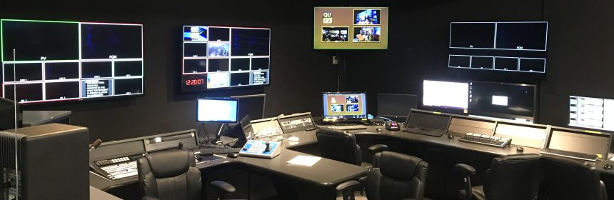 This is a picture of the control room at QUTV.