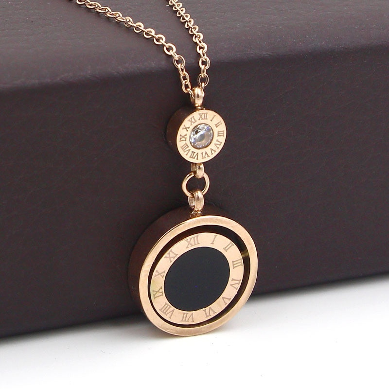 QUO ARTEM Lady-Jewelry-Double-Circle-Roman-Numeral-Necklace-For-Women-Turnable-Black-White-Shell-Pendent-Necklace-Jewelry-1 Shop