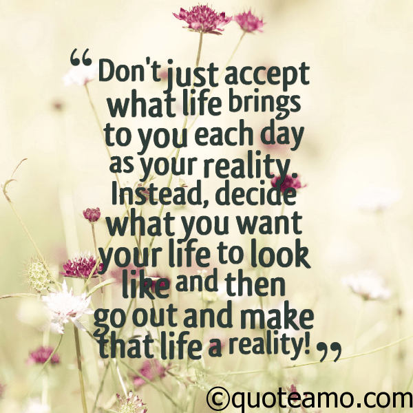 Dont Just Accept What Life Brings Each Day Quote Amo