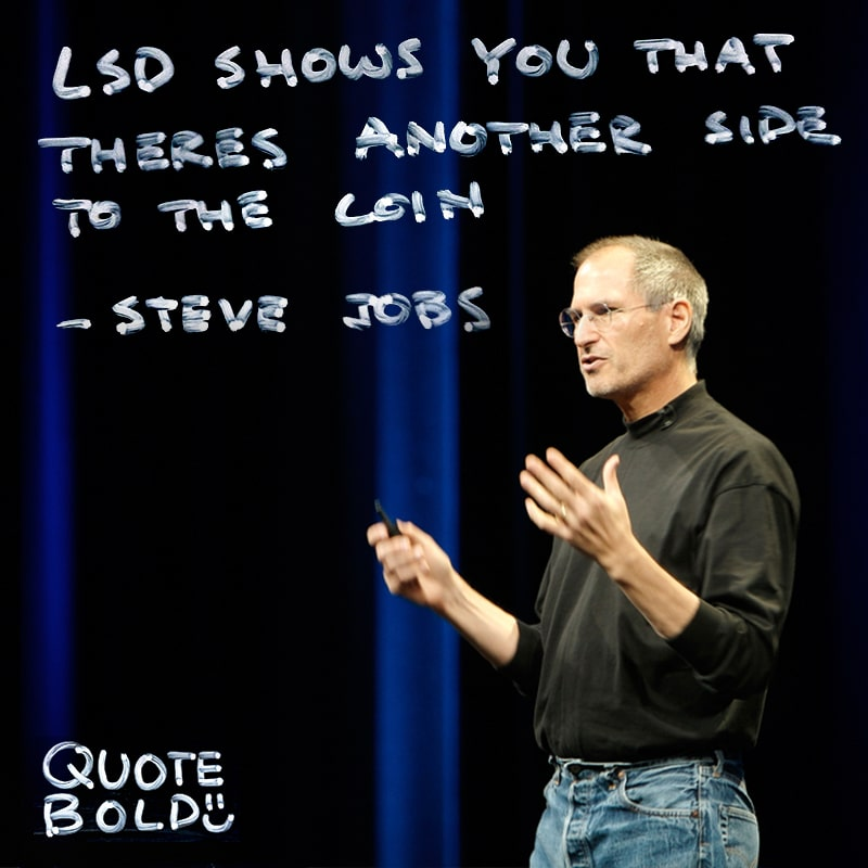 """steve jobs quote lsd - """"LSD shows you that there's another side to the coin, and you can't remember it when it wears off, but you know it."""""""