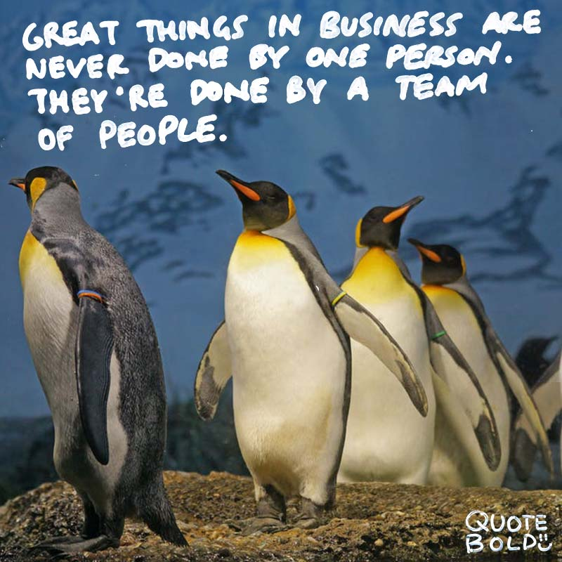"""steve jobs quotes on teamwork - """"Great things in business are never done by one person. They're done by a team of people."""""""