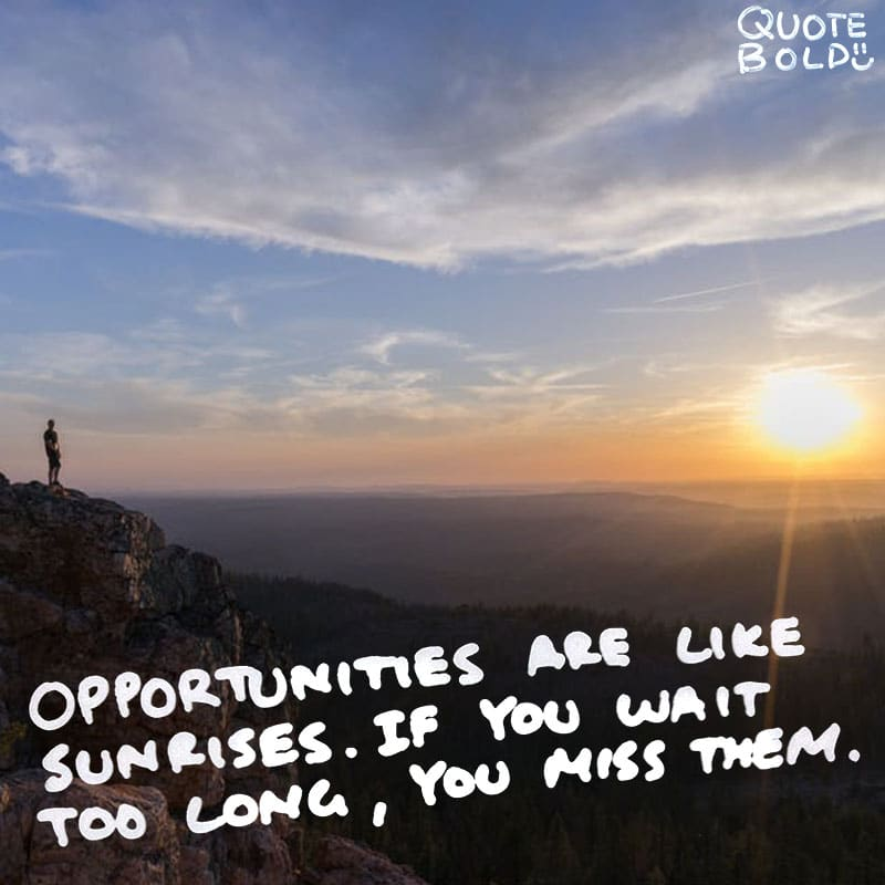 "quote ""Opportunities are like sunrises. If you wait too long, you miss them."" - William Arthur Ward"