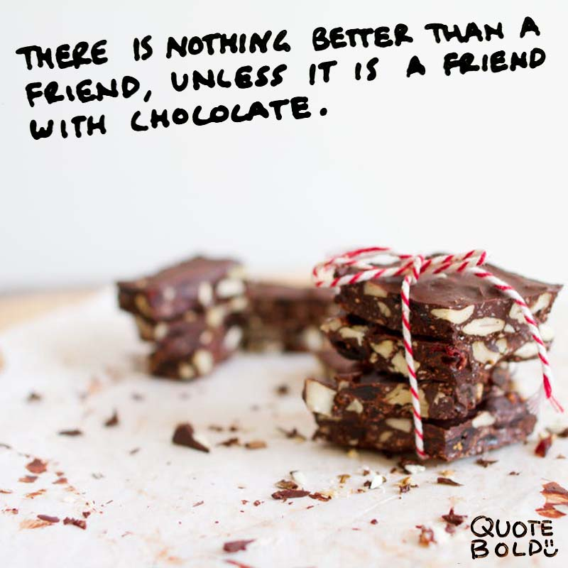 """quote """"There is nothing better than a friend, unless it is a friend with chocolate."""" ― Linda Grayson"""