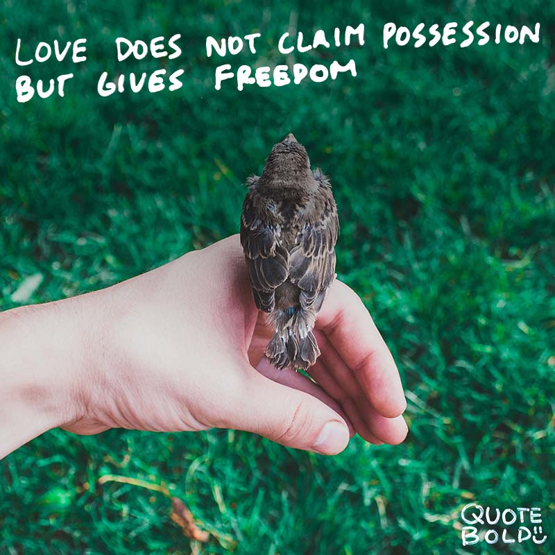 "love quotes ""Love does not claim possession, but gives freedom."" - Rabindranath Tagore"