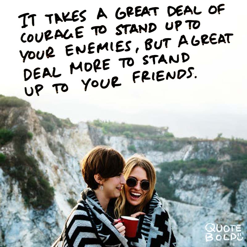 """best friend quotes image - Harry Potter """"It takes a great deal of courage to stand up to your enemies, but a great deal more to stand up to your friends."""""""