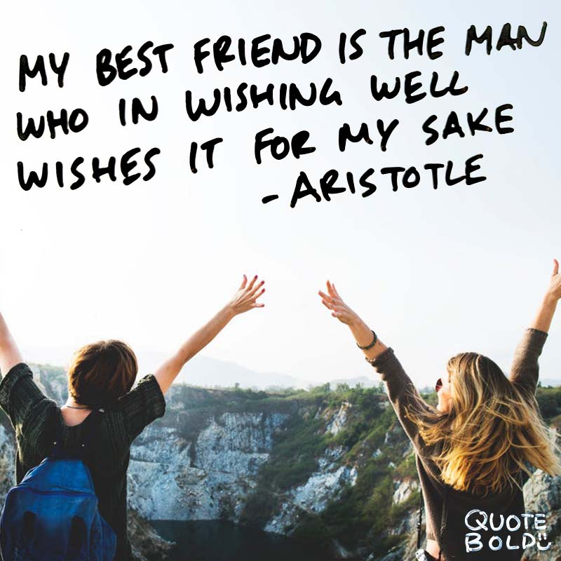"""best friend quotes - aristotle """"My best friend is the man who in wishing me well wishes it for my sake."""""""