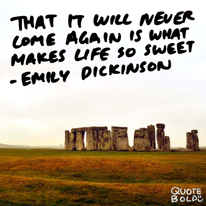 """life quotes - Emily Dickinson """"That it will never come again is what makes life so sweet."""""""