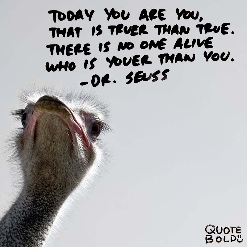 """life quotes - doctor seuss """"Today you are You, that is truer than true. There is no one alive who is Youer than You."""""""