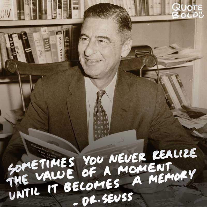"""life quotes - dr seuss """"Sometimes you never realize the value of a moment until it becomes a memory."""""""