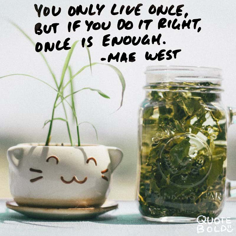 """life quotes - mae west """"You only live once, but if you do it right, once is enough."""""""