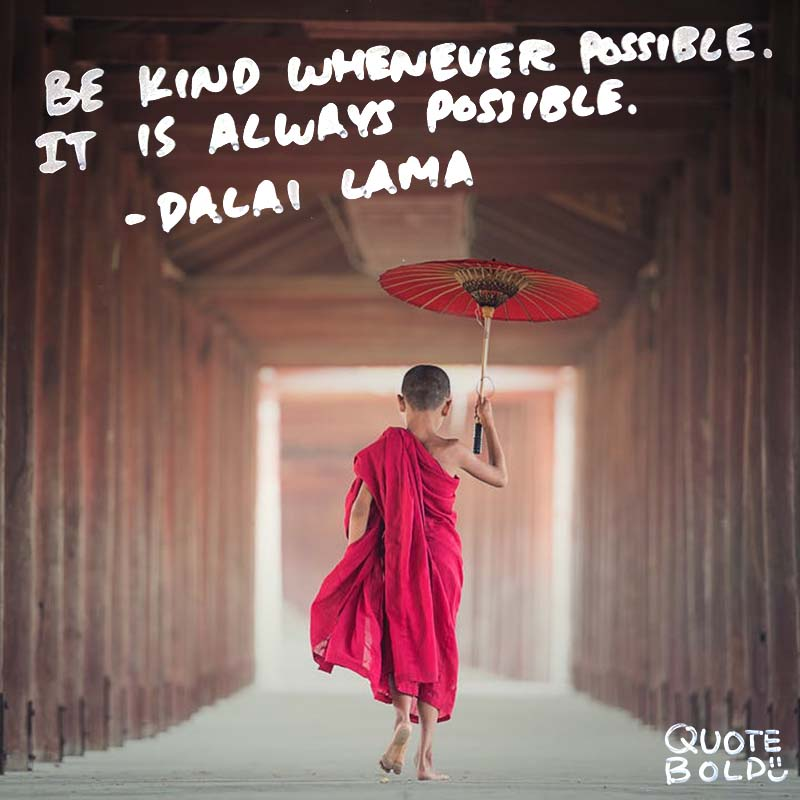 """kindness quotes image Dalai Lama """"Be kind whenever possible. It is always possible."""""""