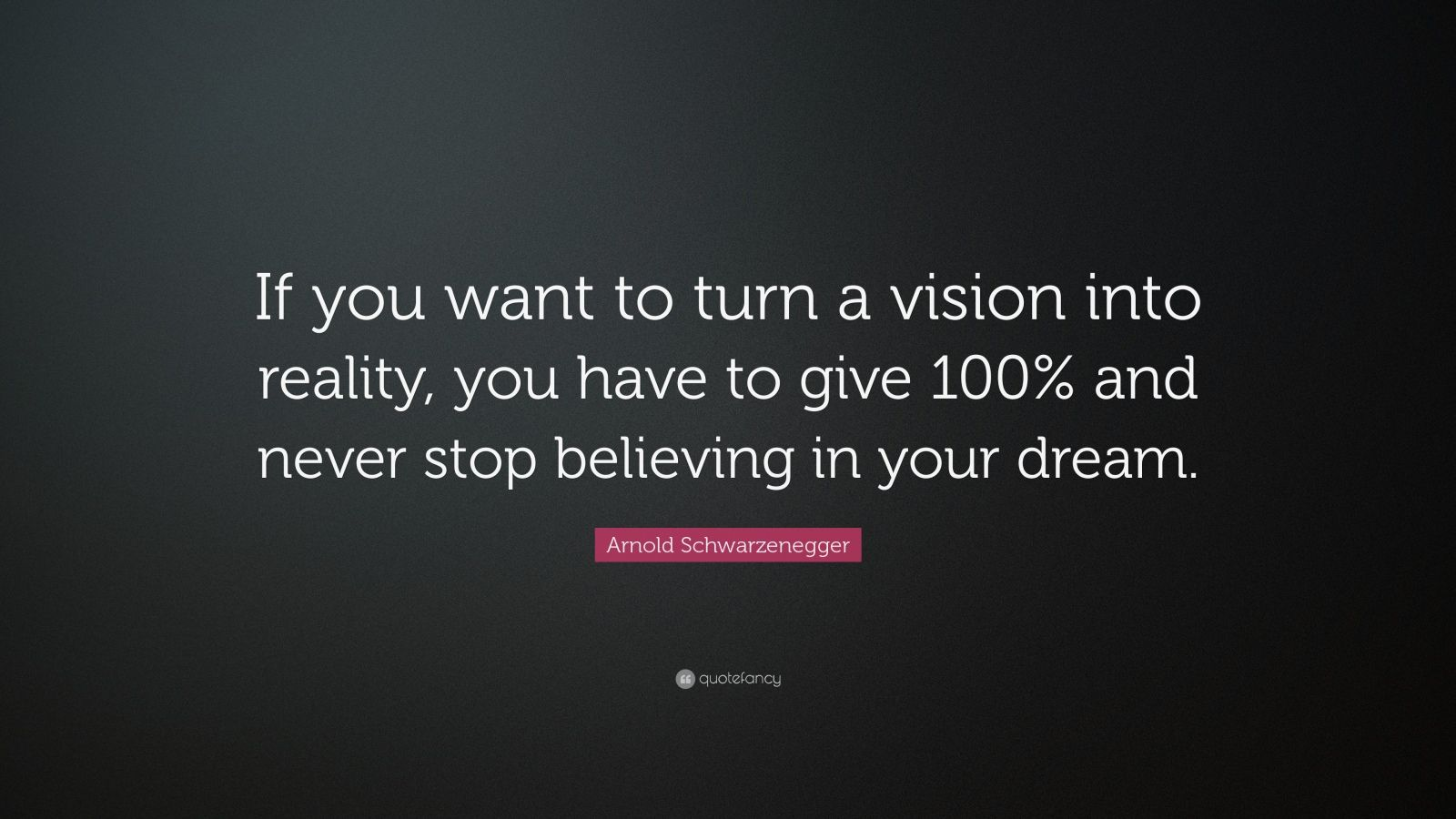 """Arnold Schwarzenegger Quote: """"If You Want To Turn A Vision"""