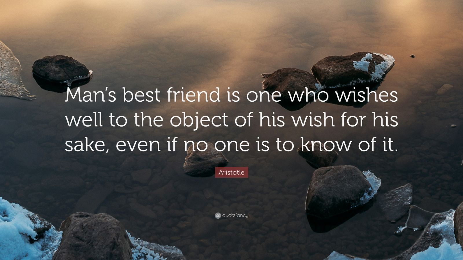 Man's best friend is one who wishes well to the object of his wish for his sake, even if no one is to know of it.