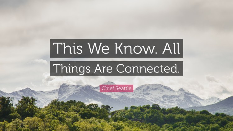 """Chief Seattle Quote: """"This We Know. All Things Are Connected."""""""