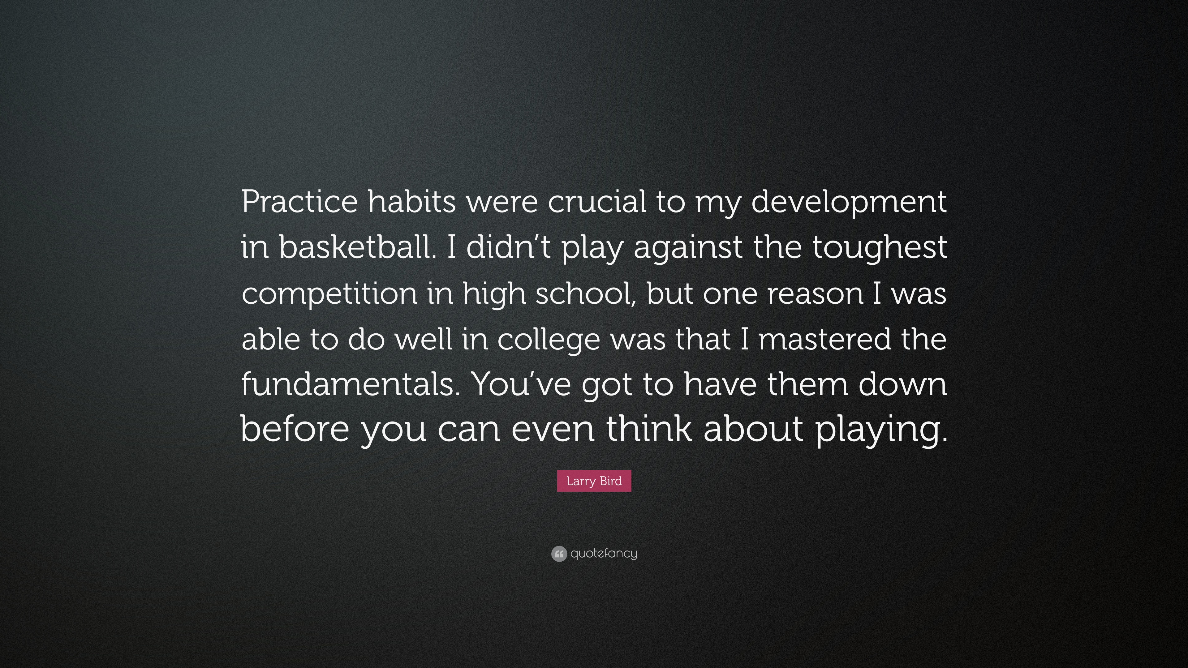 Larry Bird Quote Practice Habits Were Crucial To My Development In Basketball I Didn T Play