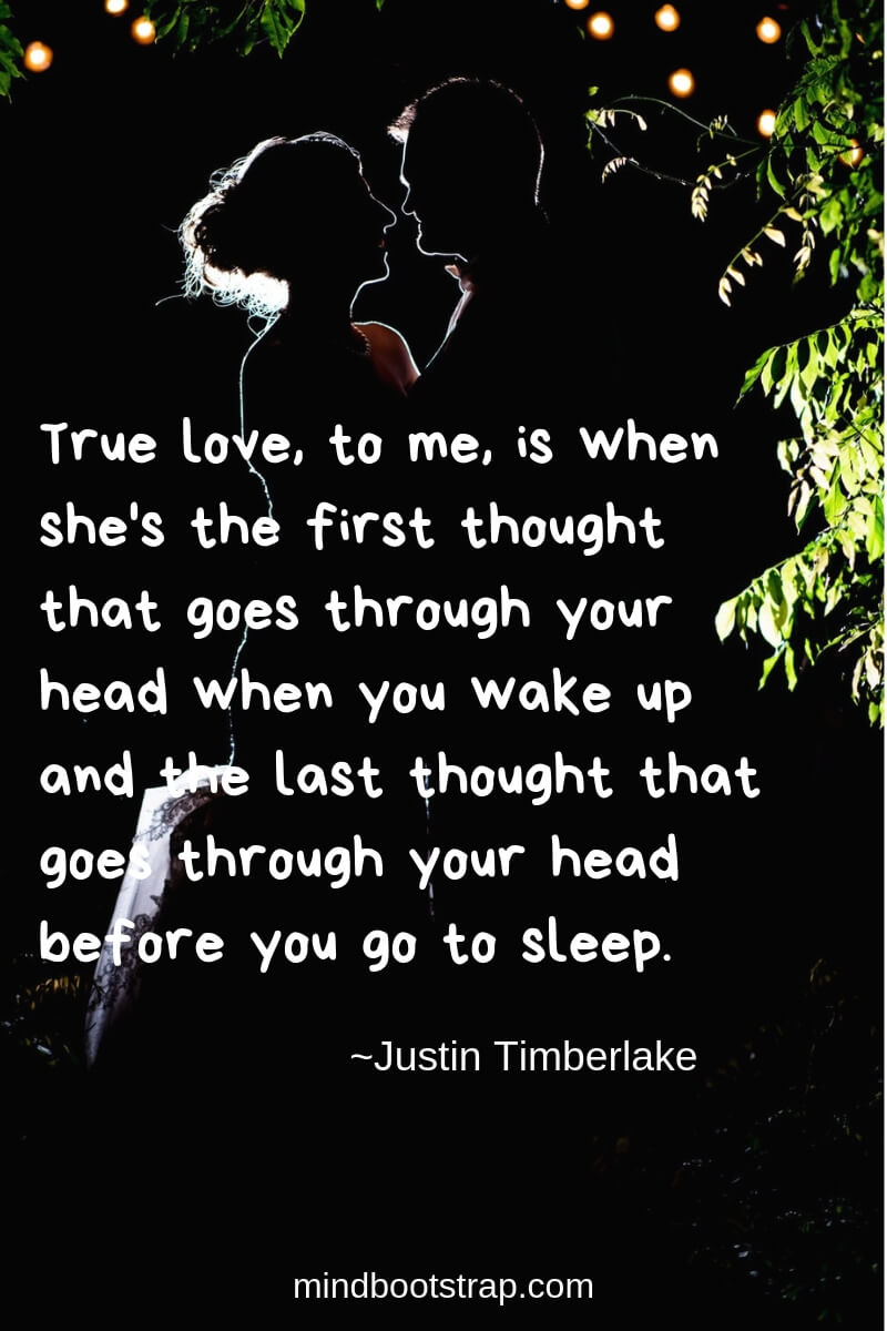 True Love Quotes & Sayings For Him or Her | True love, to me, is when she's the first thought that goes through your head when you wake up and the last thought that goes through your head before you go to sleep.