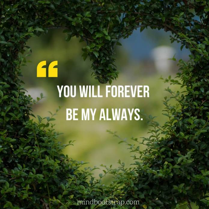 Sweet, Cute and Short I Love You Quotes & Sayings   You will forever be my always.   MindBootstrap.com