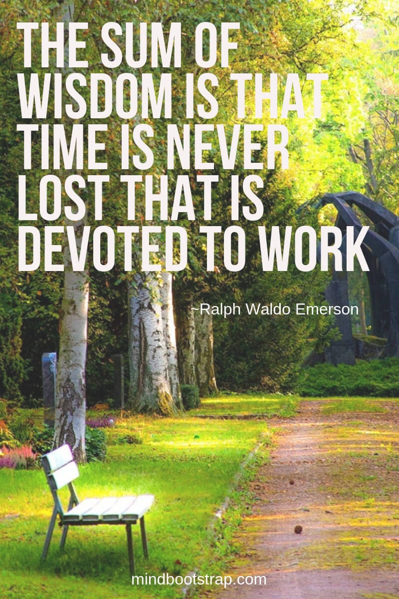 The sum of wisdom is that time is never lost that is devoted to work. ~Ralph Waldo Emerson
