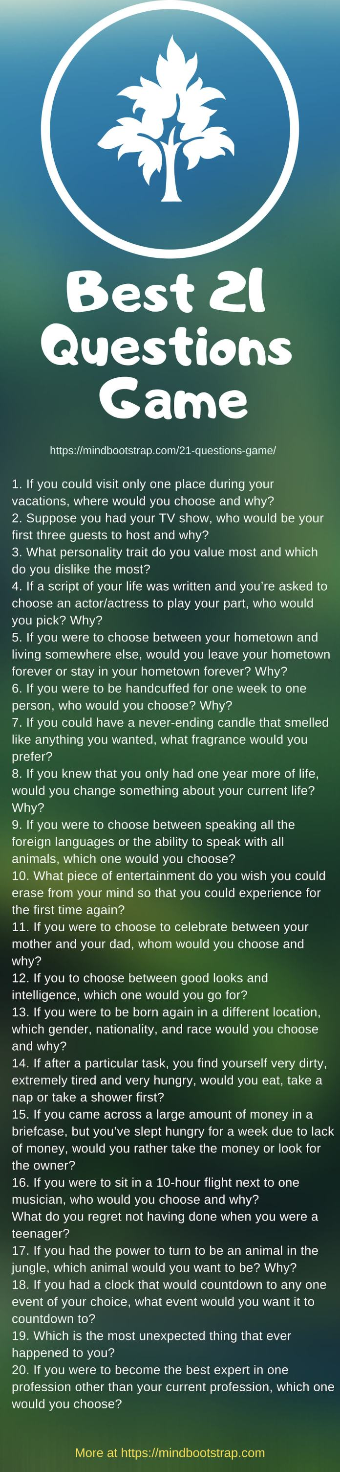 Best 21 questions game list
