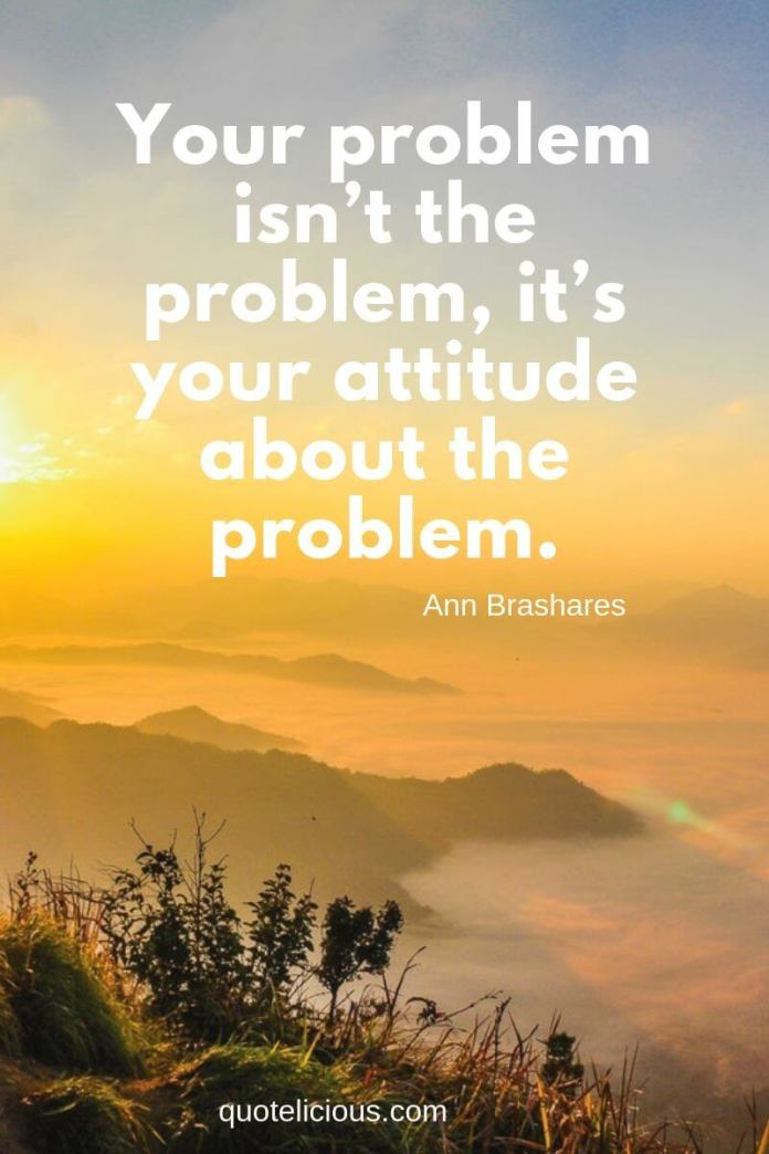 best attitude quotes and sayings Your problem isn't the problem, it's your attitude about the problem. ~Ann Brashares