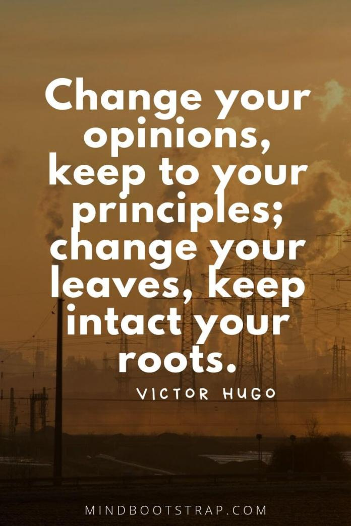 Change Quotes Change your opinions, keep to your principles; change your leaves, keep intact your roots. ~Victor Hugo