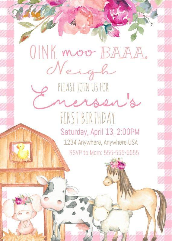 farm animals birthday invitation farm