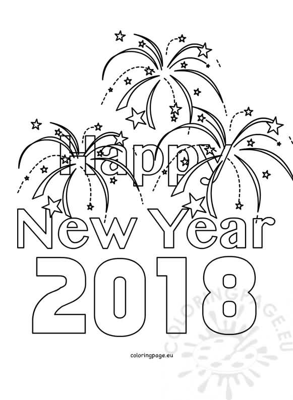 20 New Year 2018 Coloring Pages Template Designs Quotesbae New Years Coloring Pages