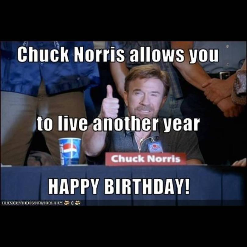 Chuck Norris Happy Birthday Meme Funny Image Photo Joke 09