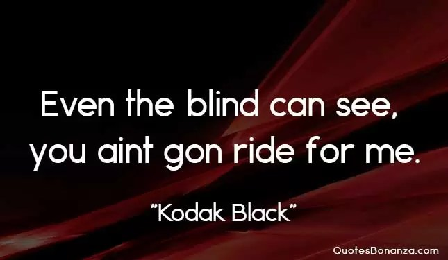 Even the blind can see you aint gone ride for me