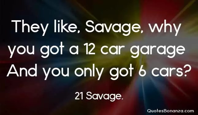 they like savage why you got a 12 car garage and you only got 6 cars