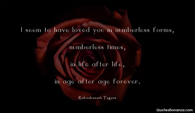 I seem to have loved you in numberless forms, numberless times, in life after life, in age after age forever.