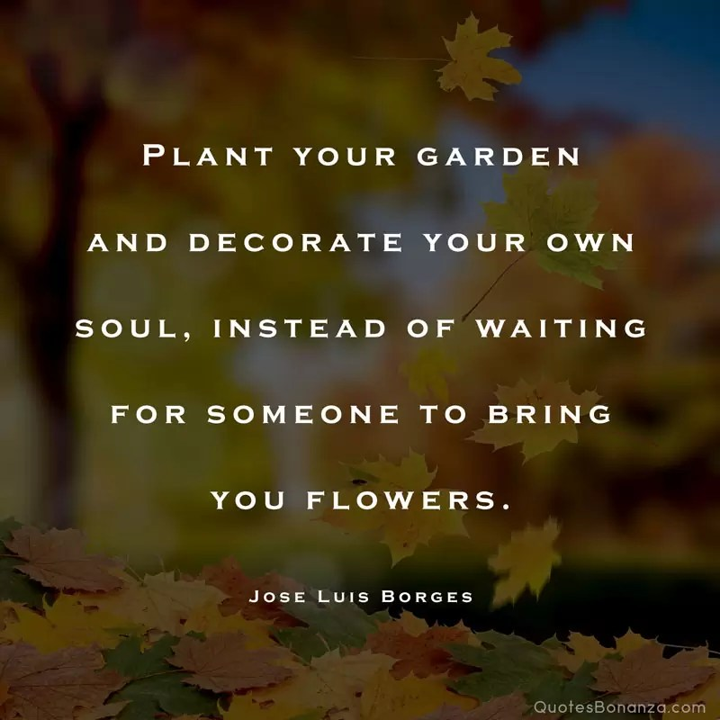 Plant your garden and decorate your own soul, instead of waiting for someone to bring you flowers. – Jose Luis Borges