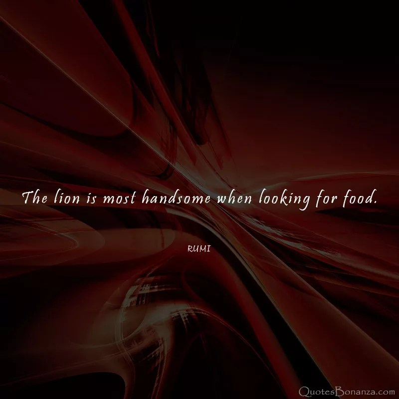 The lion is most handsome when looking for food by Rumi