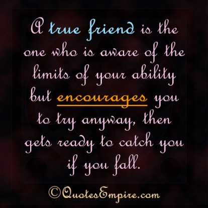A true friend is the one who is aware of the limits of your ability but encourages you to try anyway, then gets ready to catch you if you fall.