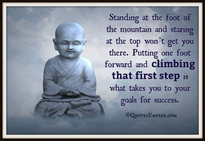 Standing at the foot of the mountain and staring at the top won't get you there. Putting one foot forward and climbing that first step is what takes you to your goals for success.