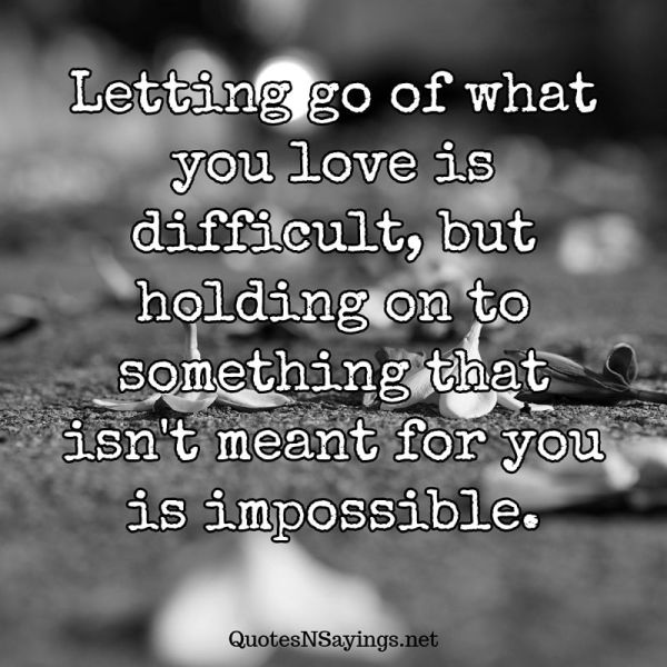 Anonymous Quote - Letting go of what you love is difficult ...