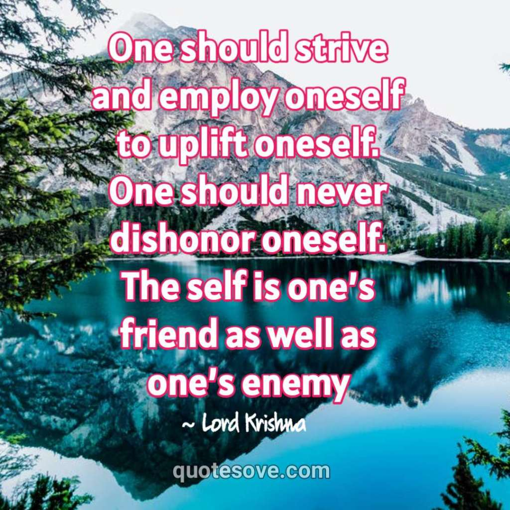 One should strive and employ oneself to uplift oneself. Krishna quote